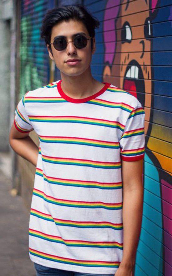 aca11c132e Mens Run & Fly White Ringer Retro Indie Rainbow Striped T-Shirt 60s 70s 80s